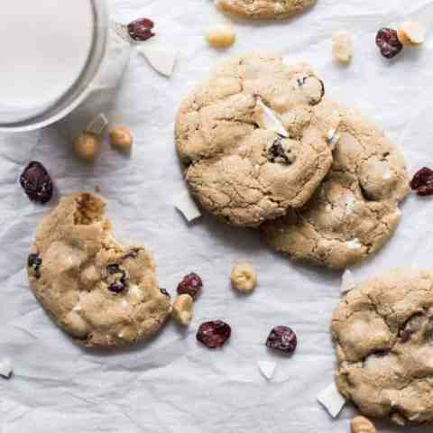 White Chocolate Cherry Macadamia Cookies