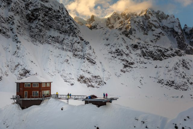 Sheldon Chalet--- a day in the life of--- in the Ruth Glacier and Amphitheater in the Alaska Range. Winter 2017 aerials Photo by Jeff Schultz/SchultzPhoto.com (C) 2017 ALL RIGHTS RESERVED
