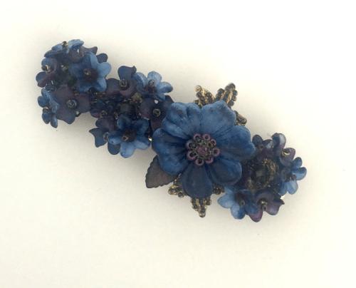 hair accessory Deep Navy Blue Flower Barette