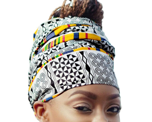 hair accessory White & Yellow Royal African Headwrap