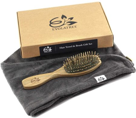natural hair gifts, Evolatree Anti-Frizz Microfiber Hair Towel & Wooden Brush