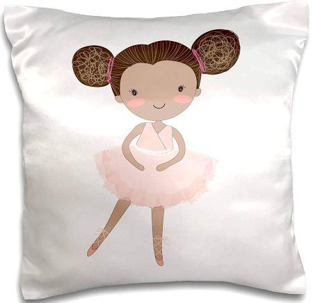 natural hair gifts for christmas, 3D Rose Ballerina Little Girl Illustration Pillow Case