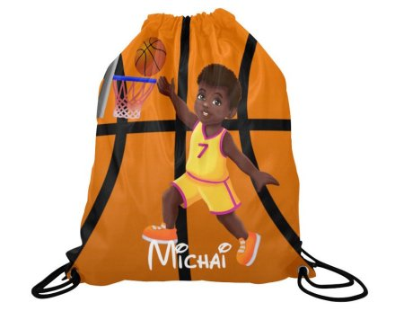 natural hair gifts for christmas, Boys Personalized Basketball Drawstring Backpack