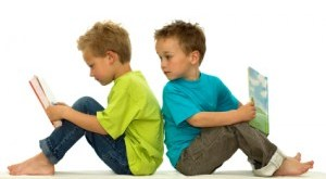 Two Children Engrossed in Books