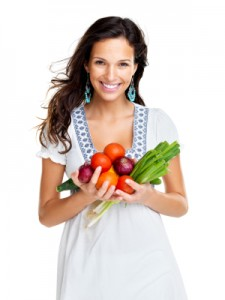 Woman Embracing Healthy Food Choices