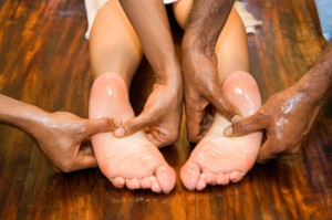 Rubbing Oil on Feet