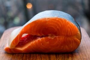 Salmon on Wood Board