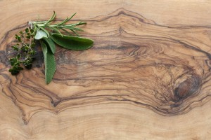 Wooden Board with Herbs