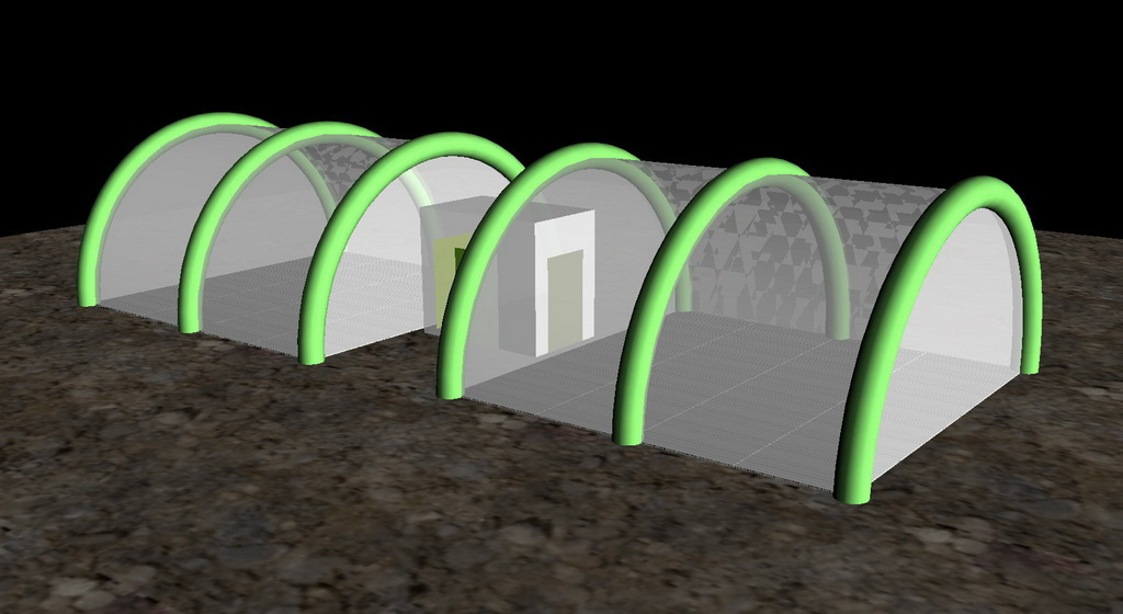 Visualization of a proposed Heard Island shelter setup, using two HDT Global airbeam tents.  Each shelter is 20'x21'.  Image credit: Bob Schmieder [?].