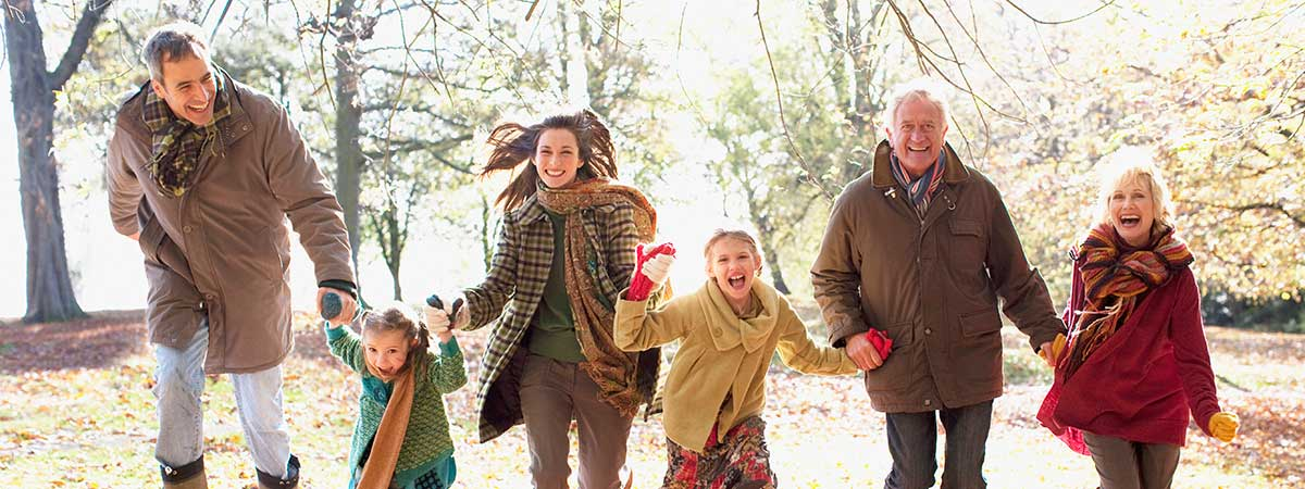 Family running outside