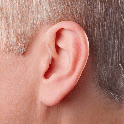 Tinnitus hearing aid on ear