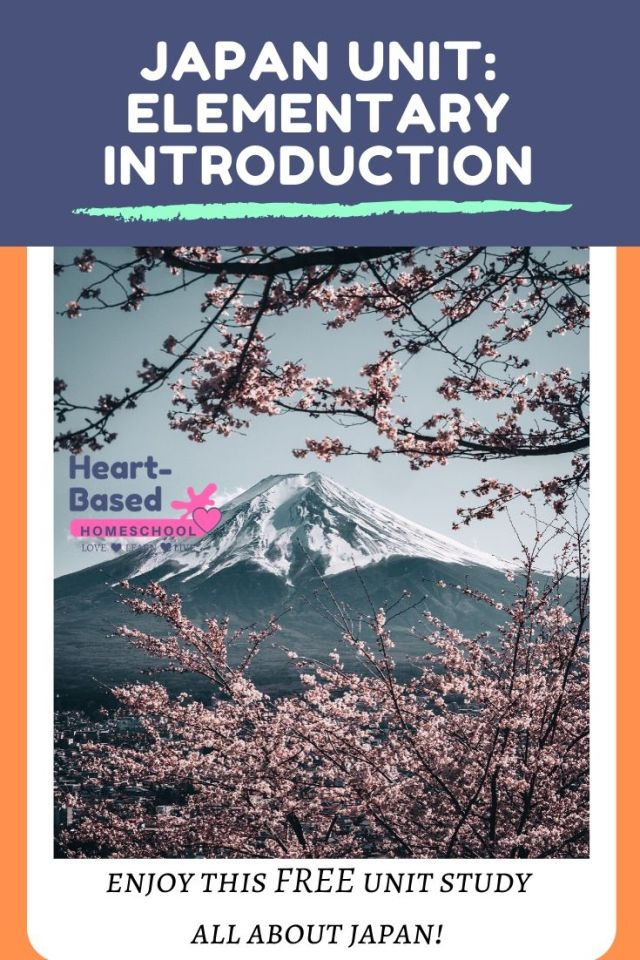 Japan Unit: Elementary Introduction Pinnable image from heart-based homeschool, Mt. Fuji and cherry blossoms