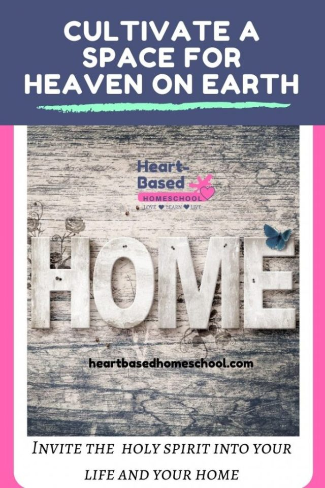 """Decorative wooden sign that reads, """"Home."""" Cultivate Space for Heaven on Earth!"""