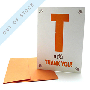 out of stock T is for Thank You
