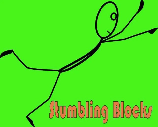 Stick figure tripping over the title Stumbling Blocks.