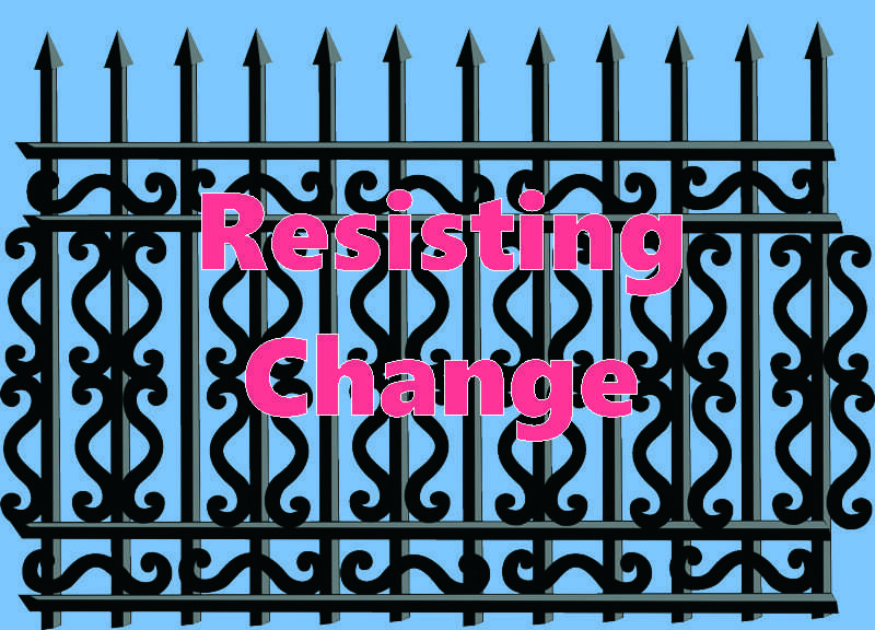 Graphic of a section of iron fence with the title Resisting Change.