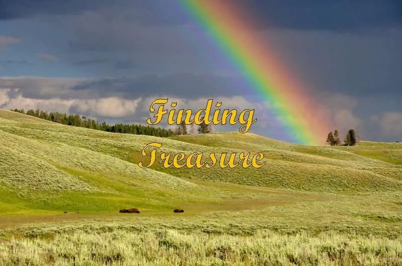 Rainbow over a plain with buffalo with the title Finding Treasure.