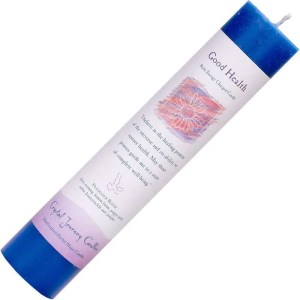 Blue pillar candle, seven inches high, one and one half inch diameter.