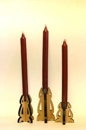 Cherry taper candle holder set of three.