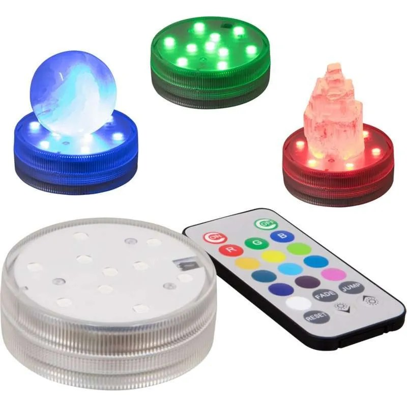 LED light base, changing colors, with remote.