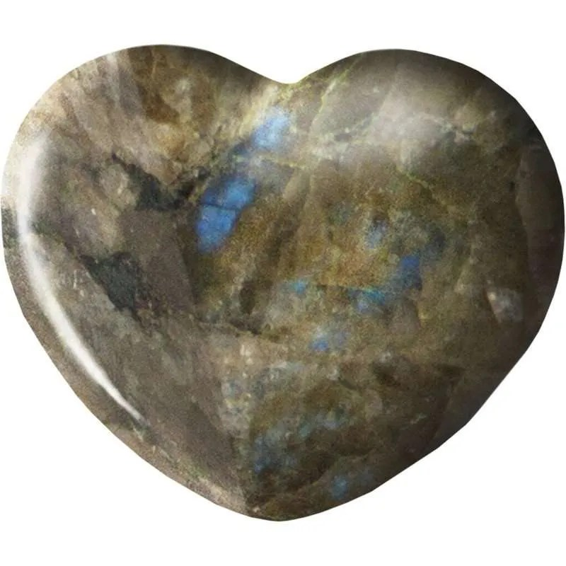 Carved gemstone heart - labradorite.