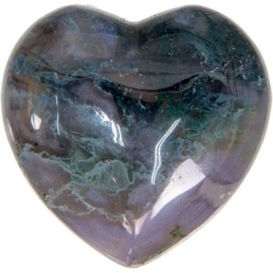 Carved gemstone heart - moss agate.