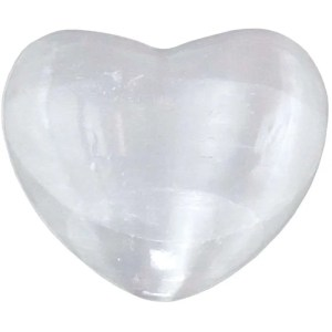 Carved gemstone heart - selenite.