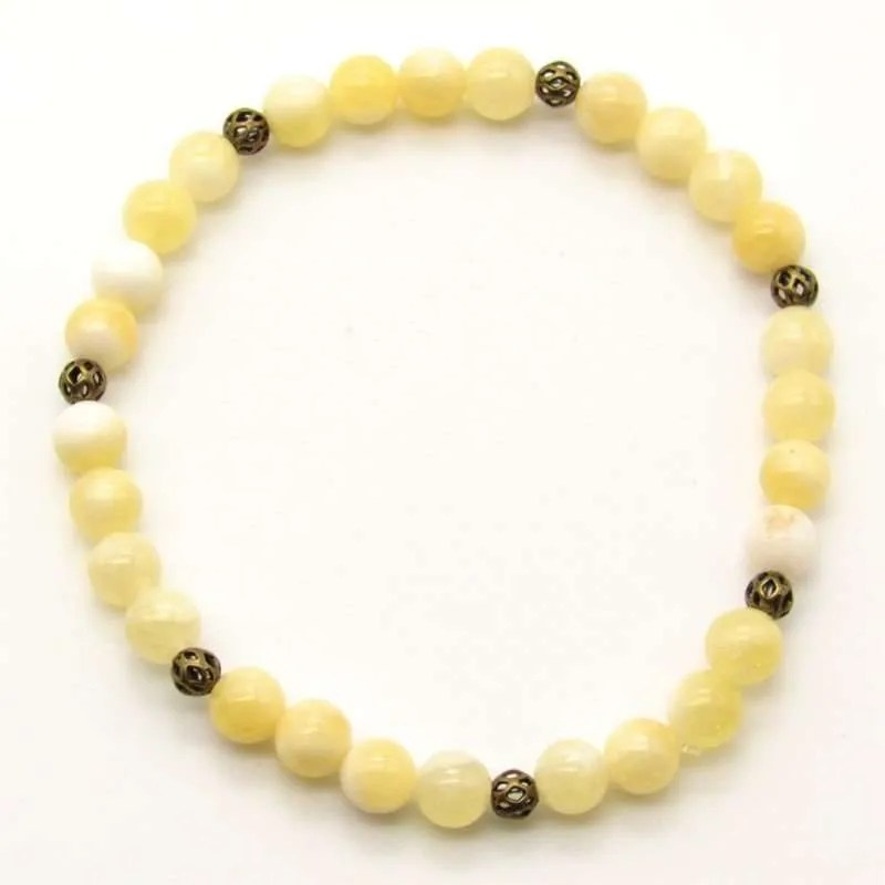 Yellow calcite 6mm bead bracelet.