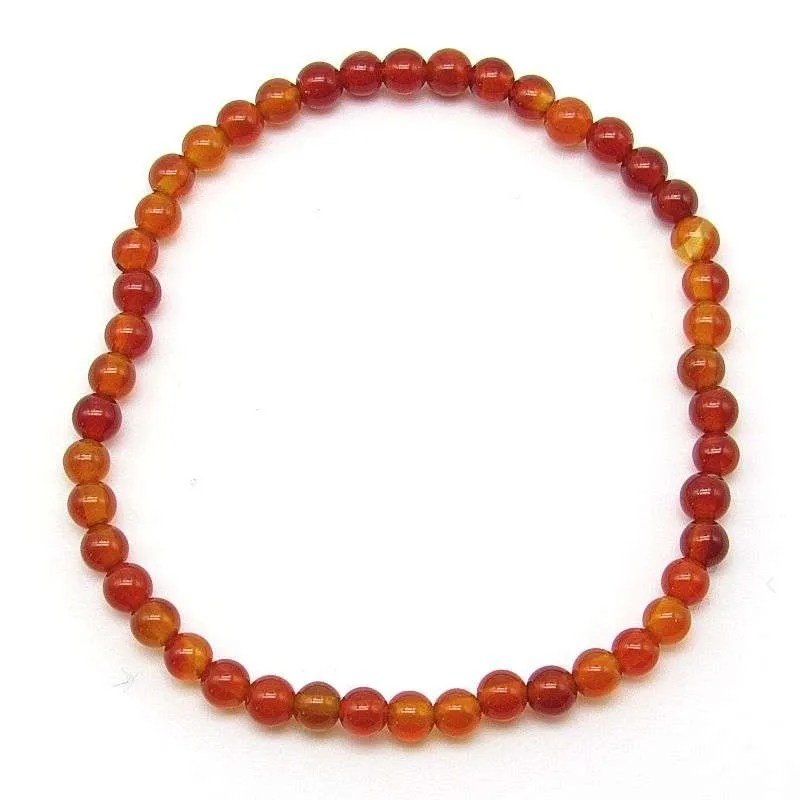 Red agate 4mm bead bracelet.