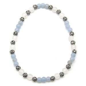 Angelite and snow quartz 4mm bead bracelet.