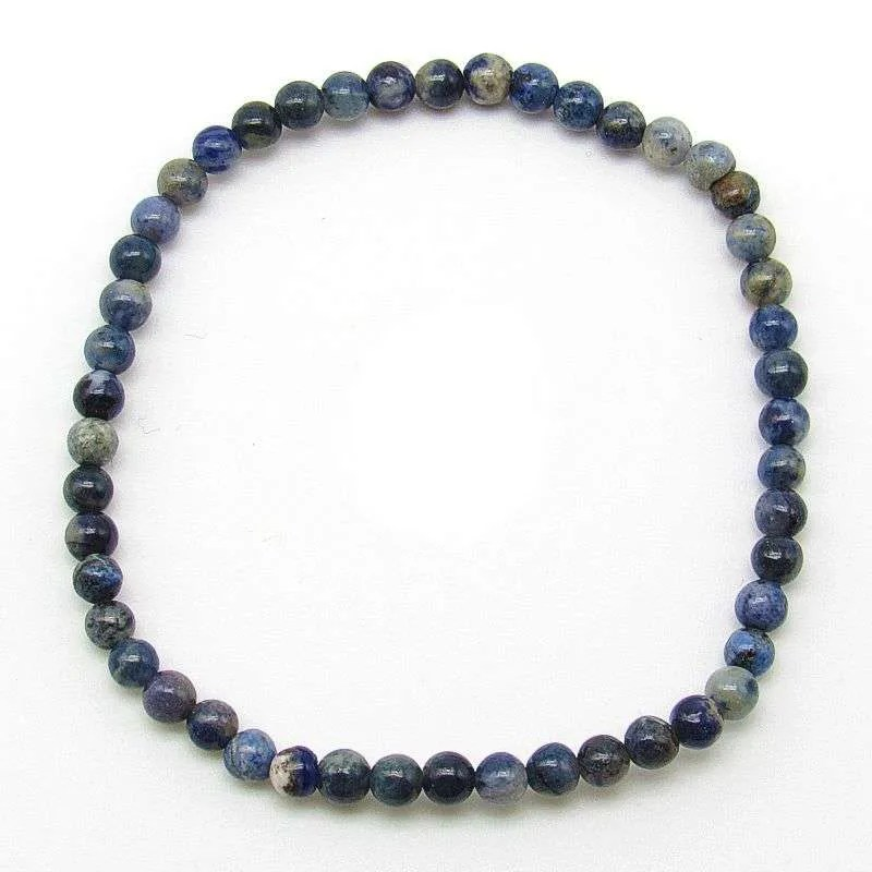 Flower dumortierite 4mm bead bracelet.