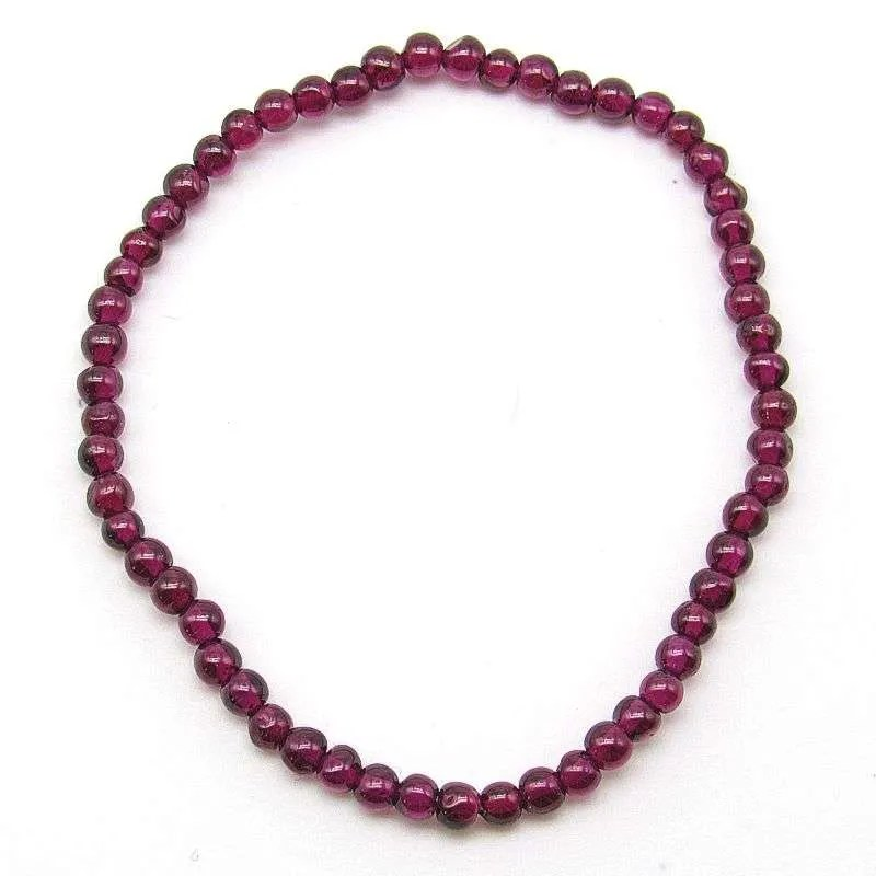 Red garnet 3-4mm bead bracelet.