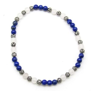 Lapis lazuli and snow quartz 4mm bead bracelet