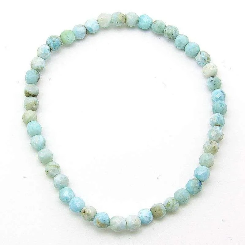 Larimar 4mm faceted bead bracelet