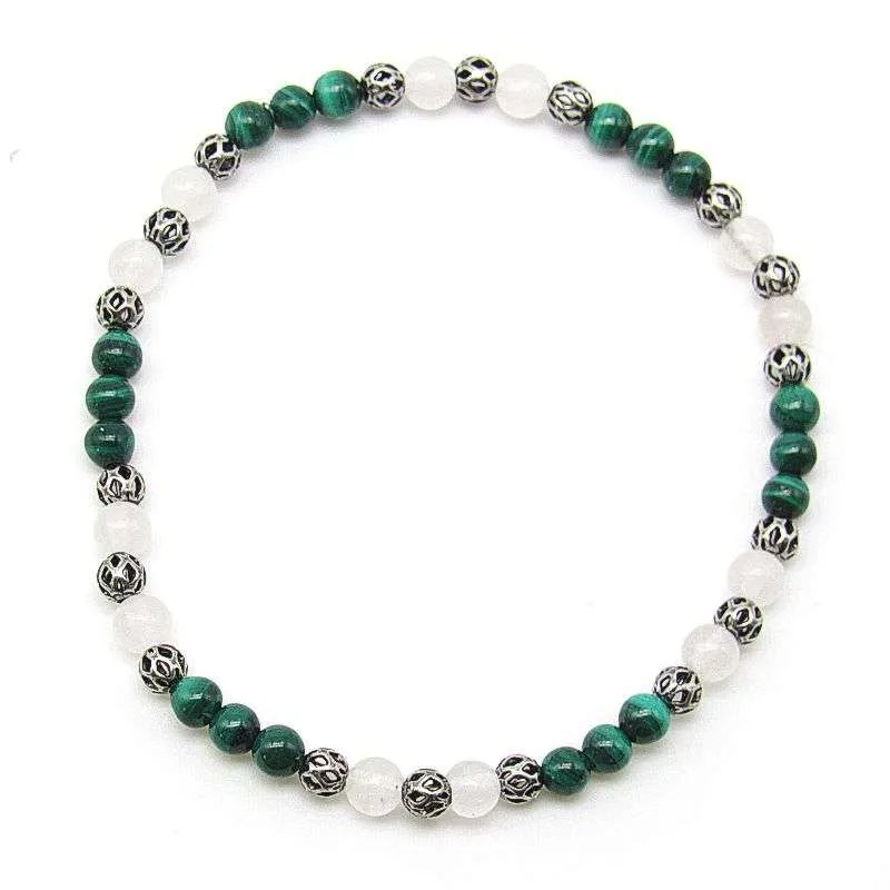 Malachite and snow quartz 4mm bead bracelet