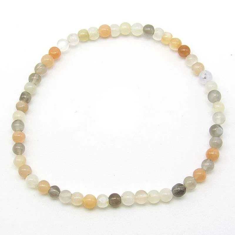 Multi-moonstone 4mm bead bracelet