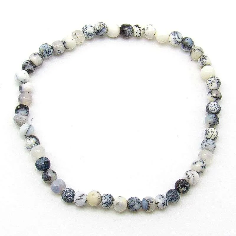 Black dendritic opal 4mm bead bracelet