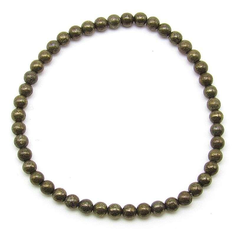 Iron pyrite 4mm bead bracelet.