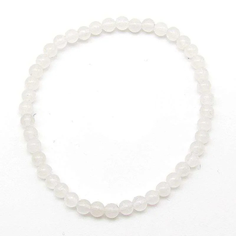Snow quartz 4mm bead bracelet.