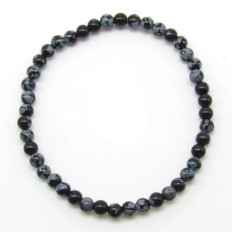 Snowflake obsidian 4mm bead bracelet.