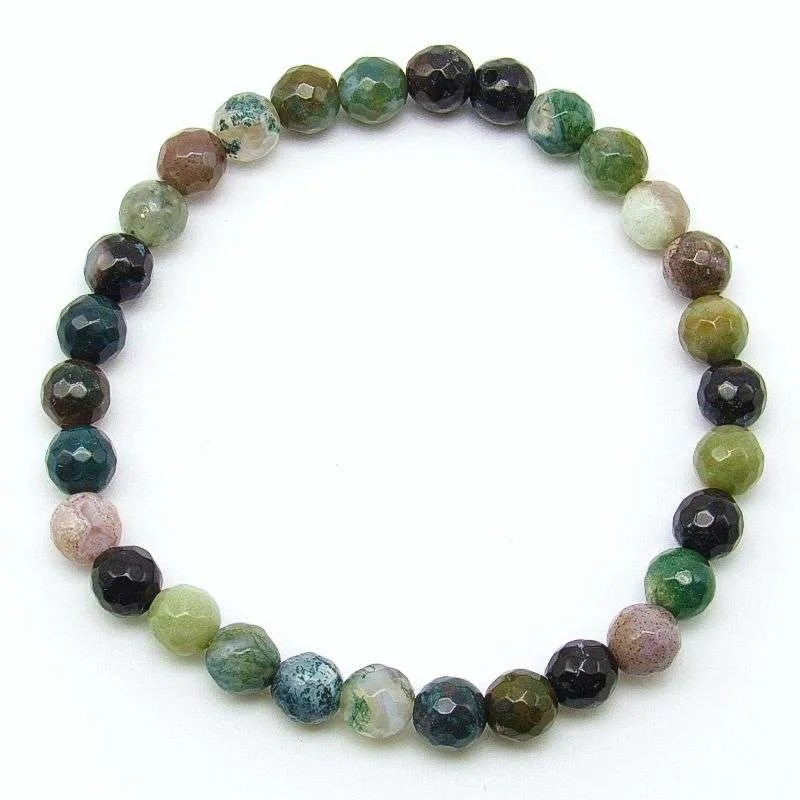 Faceted fancy jasper 6mm bead bracelet