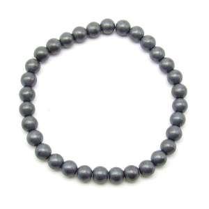 Matte hematite 6mm bead bracelet