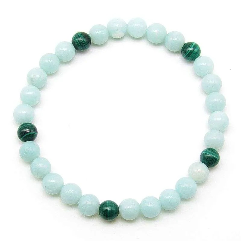 Malachite and amazonite 6mm bead bracelet