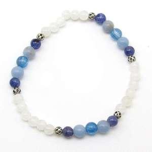 Rainbow moonstone, iolite, angelite and blue kyanite 6mm bead bracelet