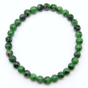 Ruby in zoisite 6mm bead bracelet