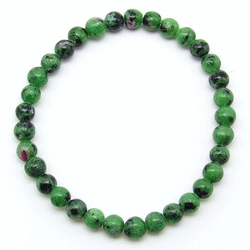 Ruby in zoisite 6mm bead bracelet