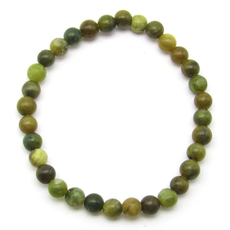 Green serpentine 6mm bead bracelet