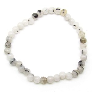 Tourmalinated quartz 6mm bead bracelet