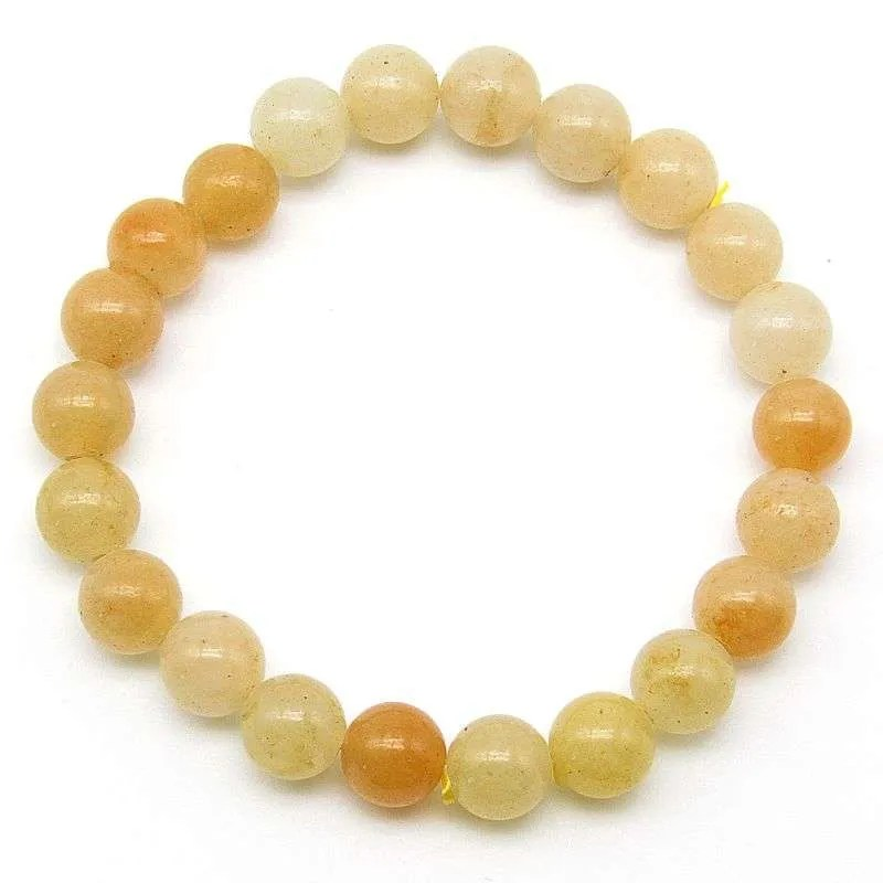 Yellow quartz 8mm bead bracelet
