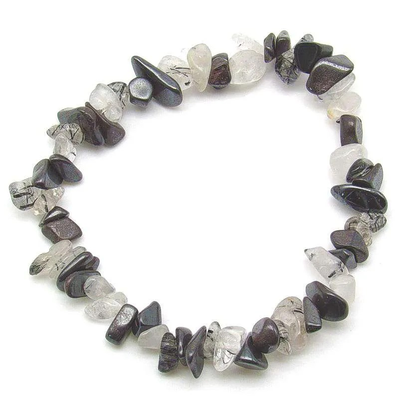 Hematite and tourmalinated quartz chip bracelet.